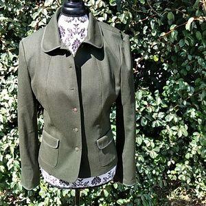 99% Wool Talots Olive  Green Career Pants Suit